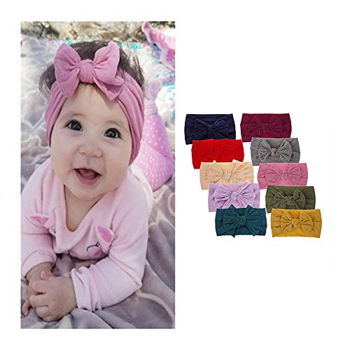 10PCS Baby Headbands Turban Knotted Girl's Hairbands for Newborn Toddler and Childrens Hairbands and Bows Child Hair Accessories (10pcs)