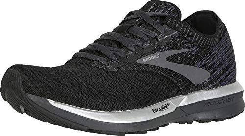 Brooks Womens Ricochet Running Shoe - Black/Black/Ebony - B - 8.5