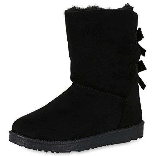 SCARPE VITA Damen Schlupfstiefel Warm Gefütterte Stiefel Schleifen Schuhe 165729 Schwarz 38
