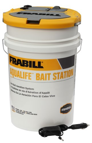 Frabill Bait Station Bucket | Large Aerated Live Bait 6-Gallon Storage