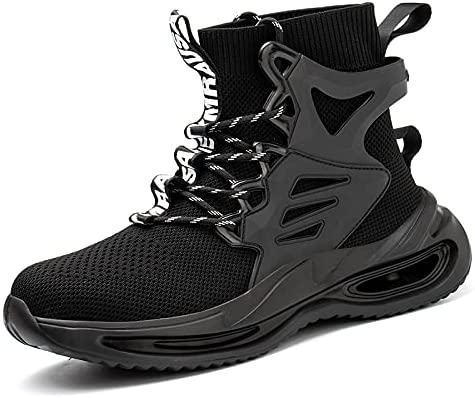 Safety Shoes for Men Composite Toe Breathable Safety Work Shoes Non-Slip Stab-Resistant Flying Woven Breathable Mesh
