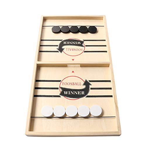 Large Sling Puck Game Foosball Winner Board Game Wooden Hockey Table Game Slingshot Game Board Super Winner Speed Puck Game for Adults Large Size