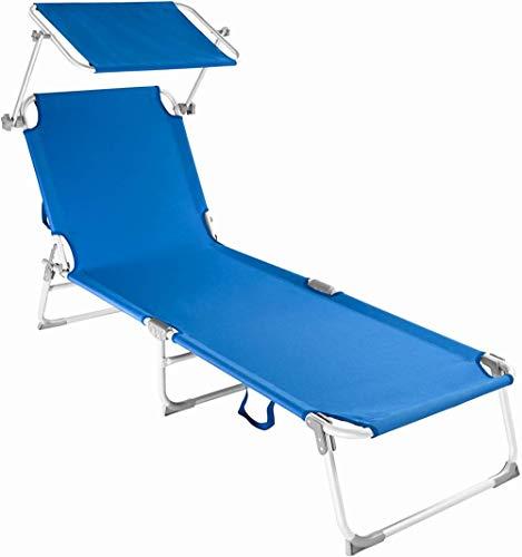 'N/A' Tumbona de jardín Plegable de Aluminio para Exteriores con Tumbona para sombrilla (Azul)