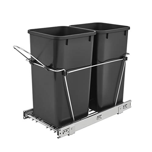 Rev-A-Shelf RV-15KD-18C S Double 27-Quart Sliding Pull Out Waste Bin Container for Base Kitchen Cabinet with 11-Inch Opening, Black