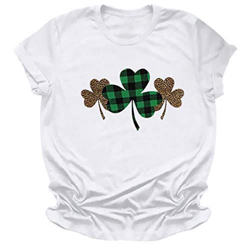 KIMODO Frauen St.Patrick's Day Prints Kurzarm O-Neck T-Shirt Tunika Bluse Tops (F-Weiß, L)