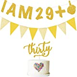 30th Birthday Banner I Am 29 +1 Glitter Golden Banner 30th Cake Topper Triangle Flag Banner 30th Birthday Party Decorations