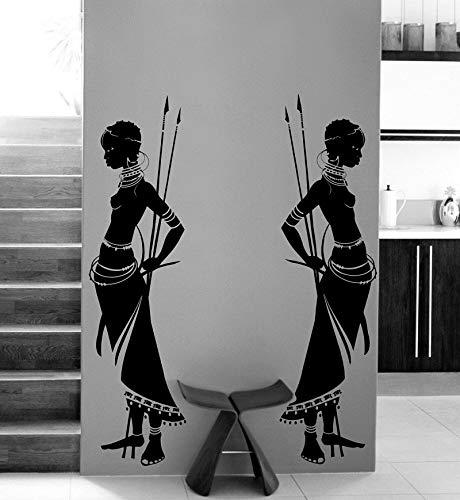 ASFGA Haushaltswaren Stammes afrikanische Wowan Wandkunst Vinyl Aufkleber - Aufkleber Familie Wohnzimmer Art Deco Wandaufkleber 114 * 146cm