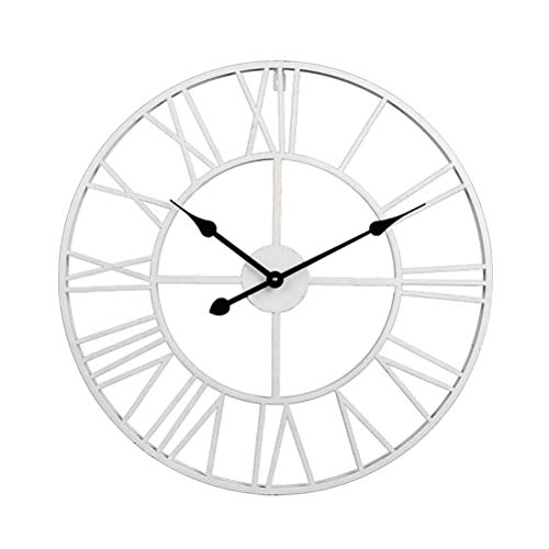 LIOOBO Reloj de pared de hierro forjado de estilo europeo con números romanos, de 60 cm,...