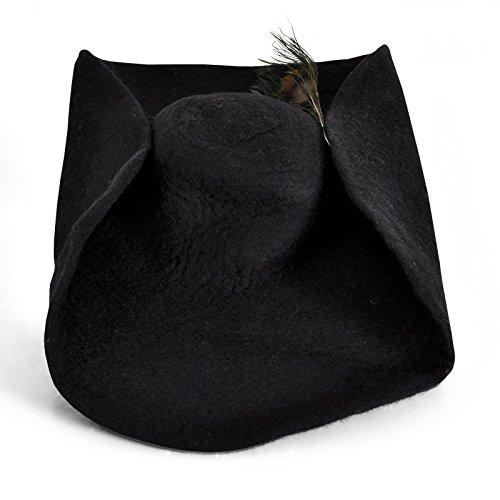 Leonardo Sombrero de Fieltro con una Pluma de Pavo Real Caballeros Medievales Tocado de ala Ancha de Lana Negro