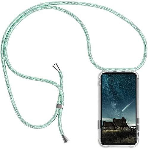 JINGLUO Funda Transparente con Cordón para Realme C20 - Carcasa con Cuerda y Esquinas Reforzadas con Correa - Elegante Case Cover con Collar de Cordón Cruzado, Verde