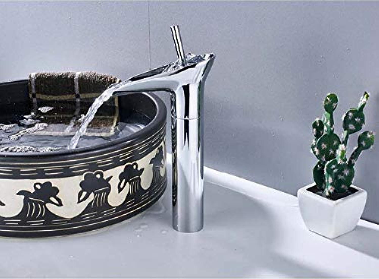Waschtischarmatur Wasserfall Bad Wasserhahn Einzigen Handgriff Bad Mischbatterie Deck Montiert Silber Weinschale Stil Hei Kaltmischer Wasserhahn