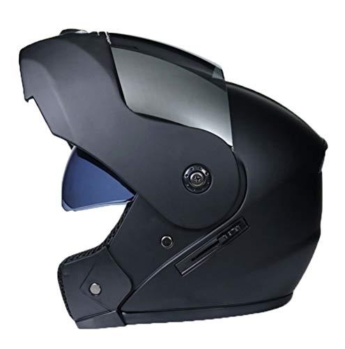 Mengyu Motorrad-Helm mit Doppelvisier Sonnenblende Motorradhelm Integralhelm Rollerhelm Fullface für Damen Herren Erwachsene (Schwarz Silber, 58-59cm)