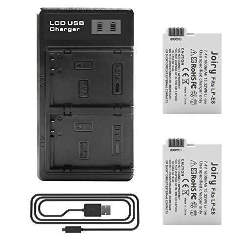 2 X LP-E8 Batería de Repuesto y LCD Cargador Dual Compatible con Canon Rebel T2i, T3i, T4i, T5i, EOS 550D, 600D, 650D, 700D, Kiss X4, X5, X6 Digital Camera
