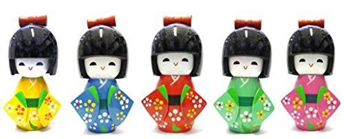 ICT Bambola Bamboline Giapponesi Kokeshi in Legno Laccato