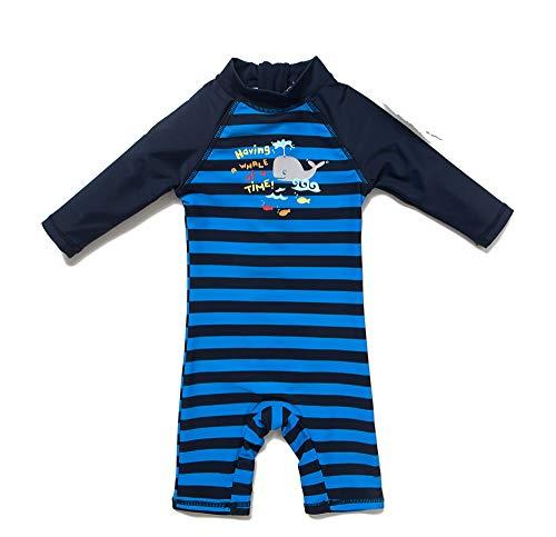 BONVERANO Baby Junge EIN stück Langärmelige-Kleidung UV-Schutz 50+ Badeanzug MIT Einem Reißverschluss, Blau-ash-fisch, 74-80