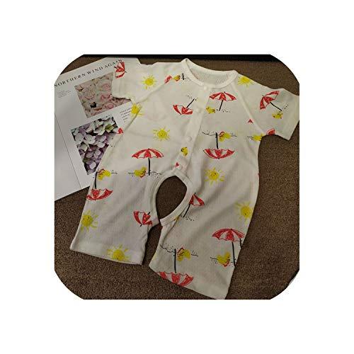 Dear Diary Store 2020 Sommer Baby Kurzarmoverall Jacquard Dünne Babykleidung Strickjacke Mit Offenem Schritt Kleiner Roter Regenschirm 73 cm