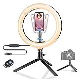 Luz de Anillo LED con Trípode, BlitzWolf 10.2' Anillo de Luz con Soporte de Móvil y Control Remoto Bluetooth, 3 Modos de Luz y 11 Niveles de Brillo con 120 Bombillas para Youtube, Maquillaje, Selfie
