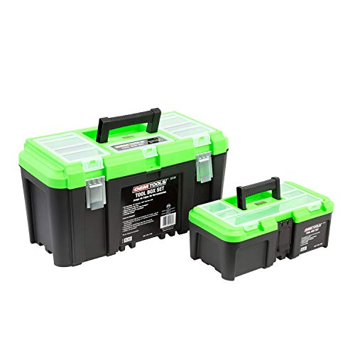 """OEMTOOLS 22161 Tool Box Set with Removable Tool Trays, Includes Two (2) Tool Boxes, Sizes 19"""" & 12.5"""", Portable Tool Box Organizers and Storage Box Handle"""