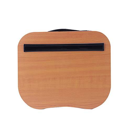 Escritorio portátil con cojín de almohada, se adapta a la mayoría de portátiles, con tira antideslizante y función de almacenamiento para estudiantes en casa, oficina, uso como soporte para portátil, tableta de libro Tamaño libre marrón