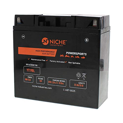NICHE Battery for YT19BL AGM Sealed Maintenance Free | 300CCA 12V Factory Activated | Motorcycle | For BMW and more