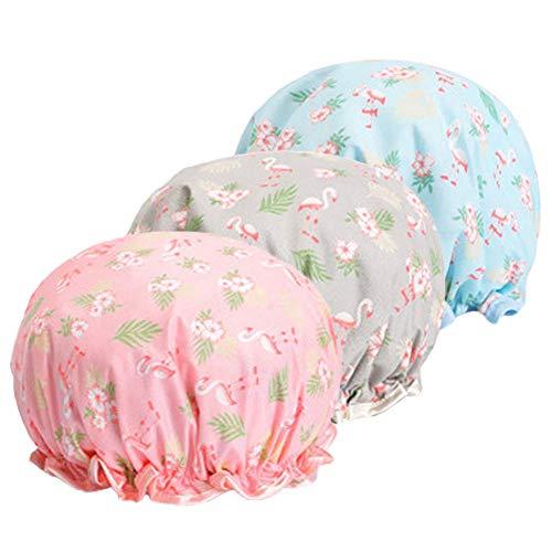 Douchemutten, Espistmo EVA badmuts douchemutsen waterdichte dubbele lagen herbruikbare slapen motorkap Elastische band hoed voor vrouwen haarbescherming Spa/schoon/koken/reizen Flamingo Zone/3 Pack