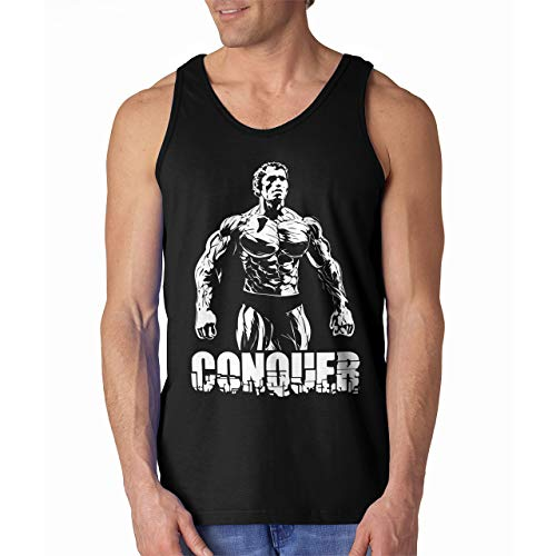 Arnold Schwarzenegger Conquer Muscle Tank Top Shirt (Black, Medium)
