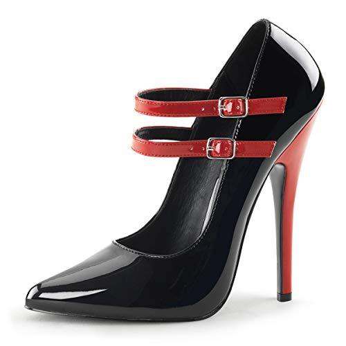 Higher-Heels PleaserUSA Pumps Domina-442 Lack schwarz/rot Gr. 42