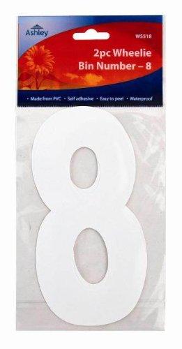 Ashley WS518 Lot de 2 autocollants à poubelles numérotés Numéro 8 17 cm