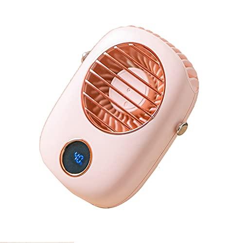 MJJCY Ventilador de Cuello Portátil Mini USB Ventilador de Mano 5V Cooler Recargable Ventilador Viaje al Aire Libre silencioso Pequeños Ventiladores de enfriamiento LED Pantalla (Color : Pink)