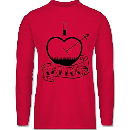 Shirtracer I Love - I Love Tattoos - L - Rot - BCTU005_Herren_Langarm - BCTU005 - Herren Langarmshirt