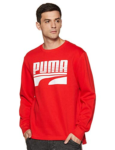 PUMA Rebel Bold Crew FL Pull Homme High Risk Red FR : L (Taille Fabricant : L)