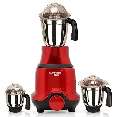 Sunmeet BUTRSA21 1000-Watt Mixer Grinder with 3 Jars (1 Wet Jar, 1 Dry Jar and 1 Chutney Jar) - Red.Make in India