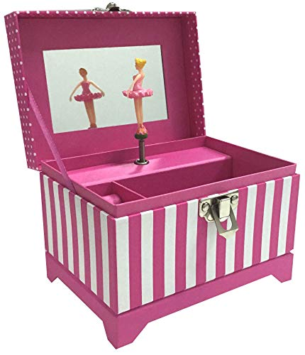 Musical Ballerina Jewelry Box - Pink Stripe