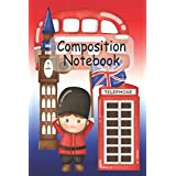 """Cute London with big ben composition notebook, 6"""" x 9"""": Cute lined ruled journal jotter notepad planner, 110 pages, London icons include phone box, route master bus, Big Ben, Union jack, perfect gift for adults and kids, tourists and students"""