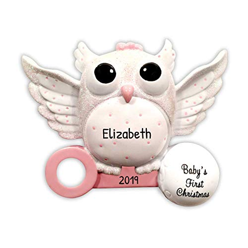 Ornaments by Elves Personalized Baby's First Christmas Owl Ornament for Tree 2018 - Cute White Glitter Bird on Pink Rattle - New Mom Shower Tradition Nursery Granddaughter - Free Customization (Girl)