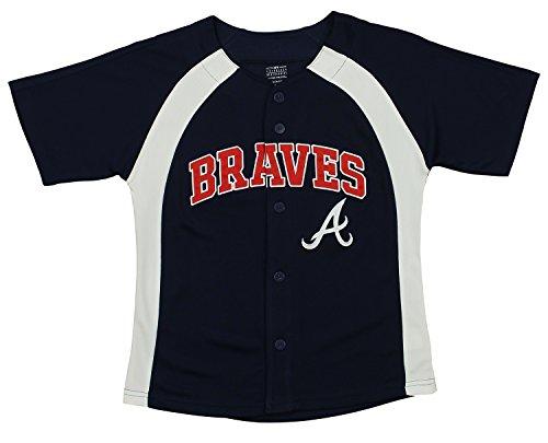Outerstuff MLB Youth Boys Blank Baseball Jersey, Various Teams (Atlanta Braves, Medium (10-12))