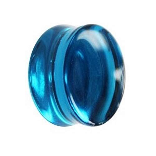 Treuheld® | 3mm Glas Ohr Plug/Flesh Tunnel | Blau | Double Flared | Ohne Gewinde | Damen und Herren | halb-durchsichtig/transparent