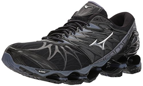 Mizuno Men's Wave Prophecy 7 Running Shoes, Black/Silver, 9.5 D US