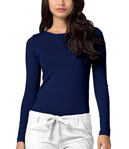 Adar Underscrubs for Women - Long Sleeve Underscrub Comfort Tee - 2900 - Navy - S