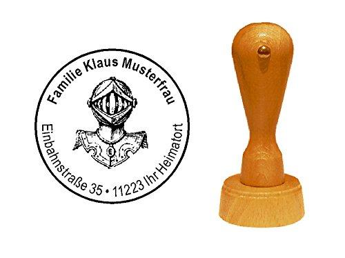 Stempel Holzstempel Adressstempel « RITTER » Durchmesser ca. Ø 40 mm - mit persönlicher Adresse und Motiv - Historie Geschichte Mittelalter Ritterrüstung