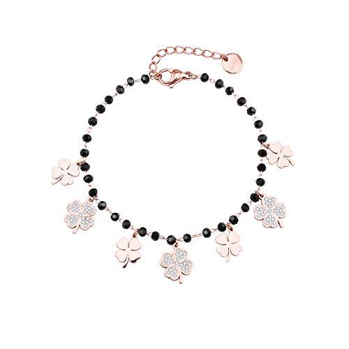 JinHan Señoras Exquisito Cristal de Circón con Incrustaciones de Trébol de Cuatro Hojas Ajustable de Moda Cadena de Cuentas Negras Regalo de Cumpleaños