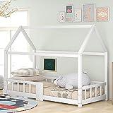 Kinderbett Hausbett 90 x 200 cm, Jugendbett Holzbett für Kinderzimmer, inkl. Tafel, Lattenrosten, Rausfallschutz, aus Kiefernholz, ohne Matratze (Weiß)