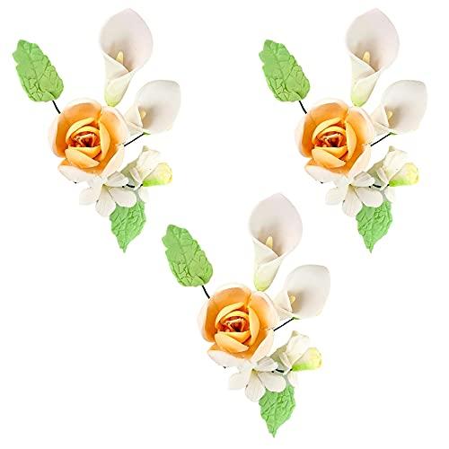 3 Bouquets de fleurs en sucre, Lys et fleur pêche de 7x4cm cake topper pour la décoration de gâteaux, fête, anniversaire, pour fille, princesse, baptêmes et mariages