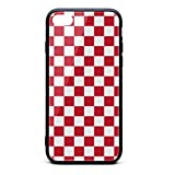 Kaiui Aidof iPhone 8 Plus Case, iPhone 7 Plus Case 9H Tempered Glass Back Cover Anti-Scratch red and White Checkered Protective Phone Cover Compatible with iPhone 7 Plus/iPhone 8 Plus