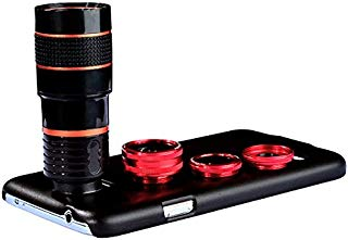 Apexel 4 in 1 Camera Lens 8X Telephoto Lens+Fisheye Lens+Wide Angle + Macro Lens with Back Cover Case for Samsung Galaxy S5 Red