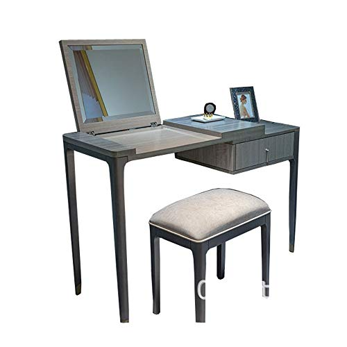 Tocador Armario ropero de Madera sólida Moderna Dresser Clamshell almacenaje de múltiples Funciones Tocador con cajones Silla Y Muebles de Dormitorio (Color : Gray, Size : 11x45x78.5cm)