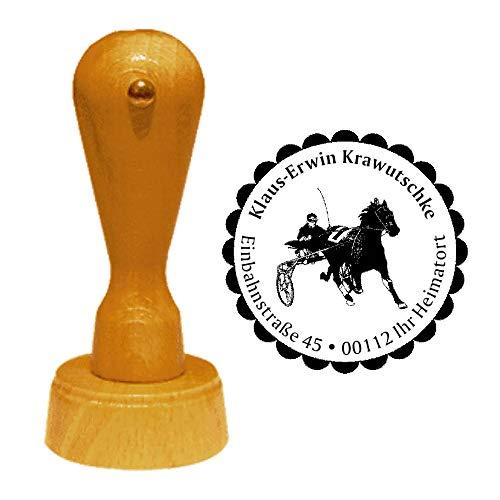 Sello de dirección Sulky, diámetro aprox. 40 mm de diámetro – con dirección personalizada, diseño y borde ornamental, deporte de caballos Trabrennen