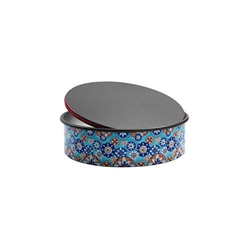 domo enjoy cooking - Tortiera Antiaderente con Fondo Apribile Salvagoccia e Cerniera in Silicone, Diametro 20 cm PushPan