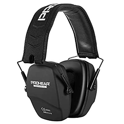 PROHEAR 016 Ear Protection Safety Earmuffs for Shooting, NRR 26dB Noise Reduction Slim Passive Hearing Protector with Low-Profile Earcups, Foldable Ear Defendars for Gun Range, Hunting (Black)