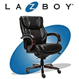 La-Z-Boy Bellamy Executive Office Chair with Memory Foam Cushions, Solid Wood Arms and Base, Waterfall Seat Edge, Bonded Leather Black